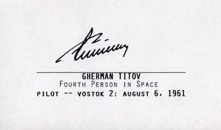 Autographs: GENERAL GHERMAN TITOV - PRINTED CARD SIGNED IN INK 08/06/1961