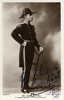 LIONEL ATWILL - PICTURE POST CARD SIGNED 1909
