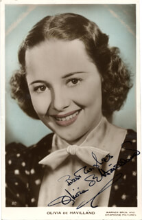 OLIVIA DE HAVILLAND - PICTURE POST CARD SIGNED