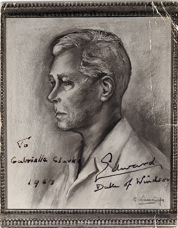 Autographs: KING EDWARD VIII - INSCRIBED ILLUSTRATION SIGNED 1963