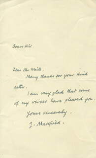JOHN MASEFIELD - AUTOGRAPH LETTER SIGNED