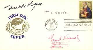 TRUMAN CAPOTE - FIRST DAY COVER SIGNED CO-SIGNED BY: ERNST KRENEK, MILTON BERLE
