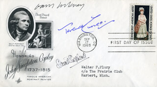 DAVID SHEPHERD - FIRST DAY COVER SIGNED CO-SIGNED BY: DAVID HOCKNEY, TERENCE CUNEO