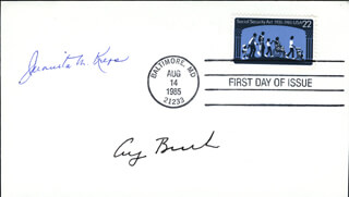 Autographs: PRESIDENT GEORGE H.W. BUSH - FIRST DAY COVER SIGNED CO-SIGNED BY: JUANITA M. KREPS