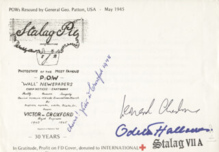 ODETTE HALLOWES - COMMEMORATIVE ENVELOPE SIGNED CO-SIGNED BY: CAPTAIN G. LEONARD CHESHIRE, VICTOR CROXFORD