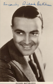 Autographs: RICHARD BARTHELMESS - PICTURE POST CARD SIGNED