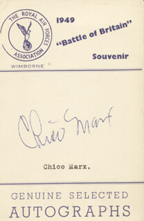 CHICO (LEONARD) MARX - PRINTED CARD SIGNED IN INK CIRCA 1949