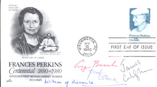 Autographs: PRESIDENT GEORGE H.W. BUSH - FIRST DAY COVER SIGNED CO-SIGNED BY: PRIME MINISTER JAMES CALLAGHAN (GREAT BRITAIN), PRIME MINISTER ALEXANDER ALEC DOUGLAS-HUME (GREAT BRITAIN), PRIME MINISTER HAROLD WILSON (GREAT BRITAIN)