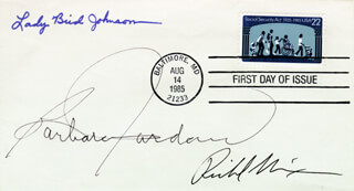 PRESIDENT RICHARD M. NIXON - FIRST DAY COVER SIGNED CO-SIGNED BY: FIRST LADY LADY BIRD JOHNSON, BARBARA C. JORDAN