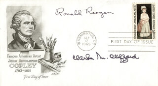 PRESIDENT RONALD REAGAN - FIRST DAY COVER SIGNED CO-SIGNED BY: CLARK M. CLIFFORD