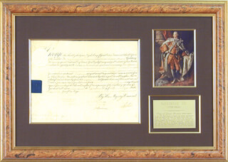 Autographs: KING GEORGE III (GREAT BRITAIN) - MILITARY APPOINTMENT SIGNED 07/18/1799 CO-SIGNED BY: PRIME MINISTER WILLIAM PORTLAND CAVENDISH-BENTINCK (GREAT BRITAIN)