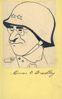 GENERAL OMAR N. BRADLEY - CARICATURE SIGNED