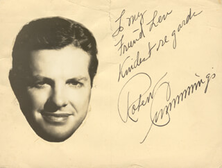 Autographs: ROBERT BOB CUMMINGS - AUTOGRAPH NOTE SIGNED