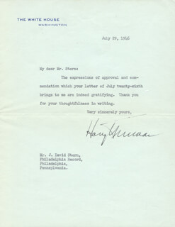 PRESIDENT HARRY S TRUMAN - TYPED LETTER SIGNED 07/29/1946
