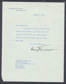 PRESIDENT HARRY S TRUMAN - TYPED LETTER SIGNED 01/03/1953