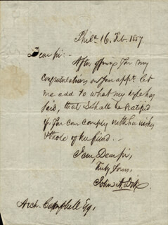 Autographs: MAJOR GENERAL JOHN A. DIX - AUTOGRAPH LETTER SIGNED 02/16/1857