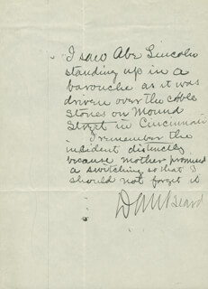 Autographs: DANIEL C. BEARD  - AUTOGRAPH STATEMENT SIGNED