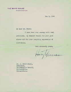 PRESIDENT HARRY S TRUMAN - TYPED LETTER SIGNED 05/09/1946