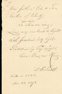 SAMUEL FRANCIS SMITH - AUTOGRAPH POEM SIGNED 12/18/1893