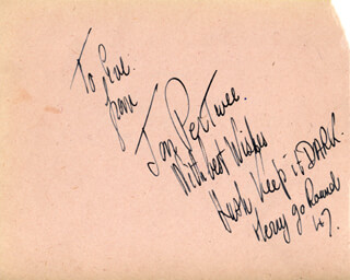 JON PERTWEE - AUTOGRAPH NOTE SIGNED 1947