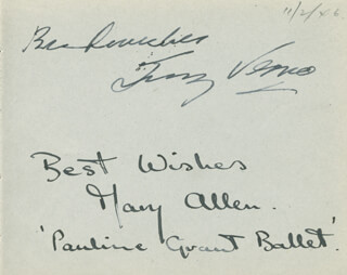 Autographs: MARY ALLEN - AUTOGRAPH SENTIMENT SIGNED CIRCA 1946 CO-SIGNED BY: TONY VENCO