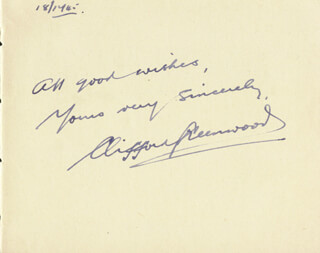 CLIFFORD GREENWOOD - AUTOGRAPH SENTIMENT SIGNED 12/18/1945