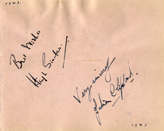 HUGH SINCLAIR - AUTOGRAPH SENTIMENT SIGNED CIRCA 1943 CO-SIGNED BY: JULIAN CLIFFORD, NAOMI JACOB, HUGH MILLER