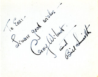 GERRY WILMOT - AUTOGRAPH NOTE SIGNED CIRCA 1946 CO-SIGNED BY: BILL SMITH, FREDRICK H. GRISEWOOD