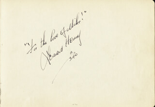 THE PRIVATE LIFE OF HENRY THE NINTH MOVIE CAST - AUTOGRAPH QUOTATION SIGNED 12/04/1940 CO-SIGNED BY: LEONARD HENRY, MAE BACON