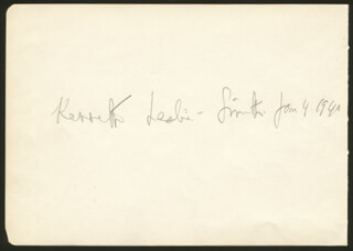 KENNETH LESLIE-SMITH - AUTOGRAPH 01/04/1940 CO-SIGNED BY: PAT RIGNOLD