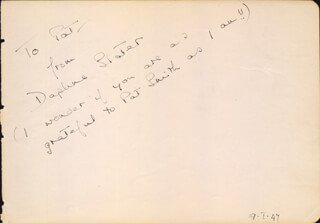 DAPHNE SLATER - AUTOGRAPH NOTE SIGNED CIRCA 1947