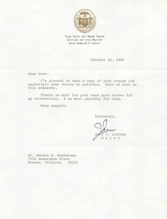MAYOR JOHN V. LINDSAY - TYPED LETTER SIGNED 10/22/1969