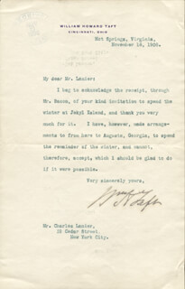 PRESIDENT WILLIAM H. TAFT - TYPED LETTER SIGNED 11/18/1908