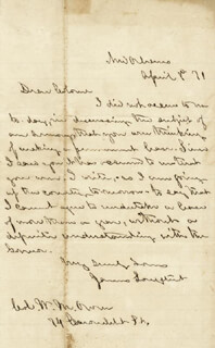 LT. GENERAL JAMES LEE'S WAR HORSE LONGSTREET - AUTOGRAPH LETTER SIGNED 04/08/1871