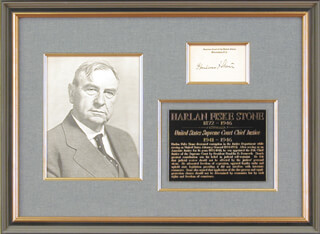 CHIEF JUSTICE HARLAN F. STONE - SUPREME COURT CARD SIGNED