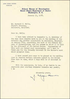 J. EDGAR HOOVER - TYPED LETTER SIGNED 01/19/1937  - HFSID 46876