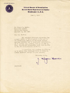 J. EDGAR HOOVER - TYPED LETTER SIGNED 06/08/1949  - HFSID 46878