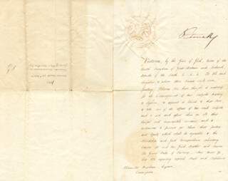 QUEEN VICTORIA (GREAT BRITAIN) - DIPLOMATIC APPOINTMENT SIGNED 11/28/1853 CO-SIGNED BY: GEORGE (4TH EARL OF ABERDEEN) HAMILTON-GORDON