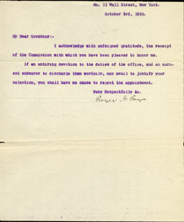 BRIGADIER GENERAL ROGER A. PRYOR - TYPED LETTER SIGNED 10/03/1890