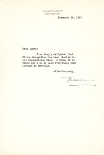 FIRST LADY ELEANOR ROOSEVELT - TYPED LETTER SIGNED 11/29/1940