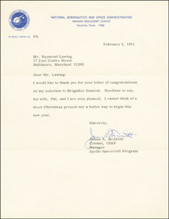 Autographs: BRIGADIER GENERAL JAMES A. McDIVITT - TYPED LETTER SIGNED 02/03/1971
