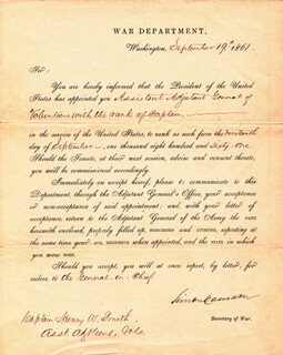 Autographs: SIMON CAMERON - MILITARY APPOINTMENT SIGNED 09/19/1861