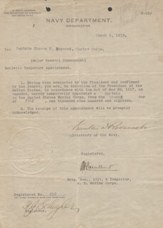 PRESIDENT FRANKLIN D. ROOSEVELT - MILITARY APPOINTMENT SIGNED 03/05/1919 CO-SIGNED BY: BRIGADIER GENERAL CHARLES H. LAUCHHEIMER
