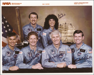 JUDITH A. JUDY RESNIK - AUTOGRAPHED SIGNED PHOTOGRAPH CO-SIGNED BY: STEVEN A. HAWLEY, COLONEL RICHARD MIKE MULLANE, COLONEL HENRY HANK HARTSFIELD JR., CAPTAIN MICHAEL L. COATS