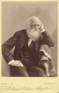 WILLIAM CULLEN BRYANT - INSCRIBED PHOTOGRAPH MOUNT SIGNED