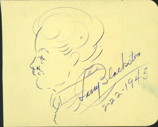 HARRY BLACKSTONE, SR. - SELF-CARICATURE SIGNED 02/22/1945 CO-SIGNED BY: LIBBY HOLMAN