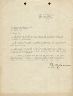 ED WYNN - TYPED LETTER SIGNED 10/14/1935