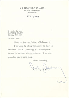 Autographs: ASSOCIATE JUSTICE ARTHUR J. GOLDBERG - TYPED LETTER SIGNED 02/13/1962