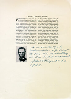 Autographs: ASSOCIATE JUSTICE JAMES C. MCREYNOLDS - AUTOGRAPH NOTE SIGNED 1938