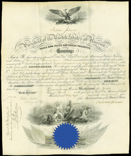 PRESIDENT ANDREW JOHNSON - NAVAL APPOINTMENT SIGNED 03/12/1868 CO-SIGNED BY: GIDEON WELLES